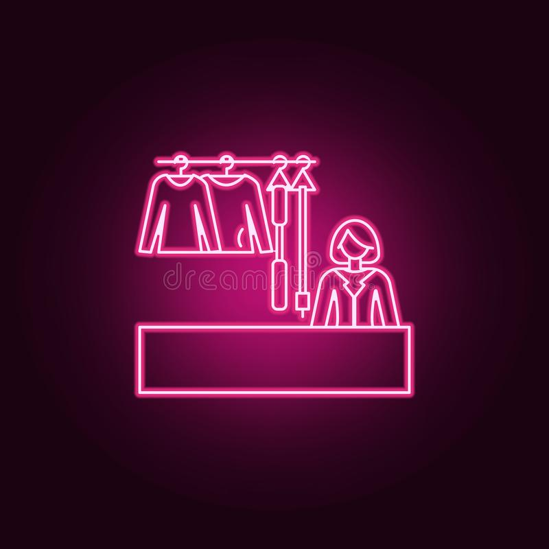 Saleswoman of clothes outline icon. Elements of Mall Shopping center in neon style icons. Simple icon for websites, web design,. Mobile app, info graphics on stock illustration