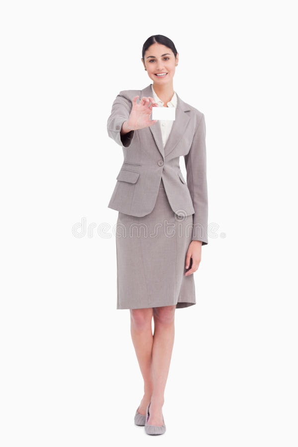 Saleswoman Novo Que Mostra Seu Cartão Em Branco Foto de Stock