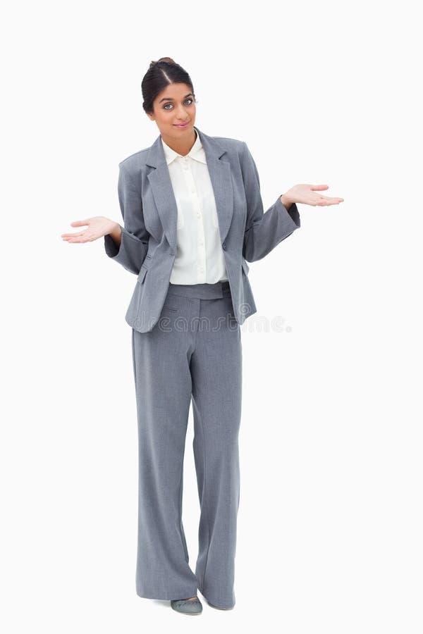 Saleswoman que é à nora foto de stock