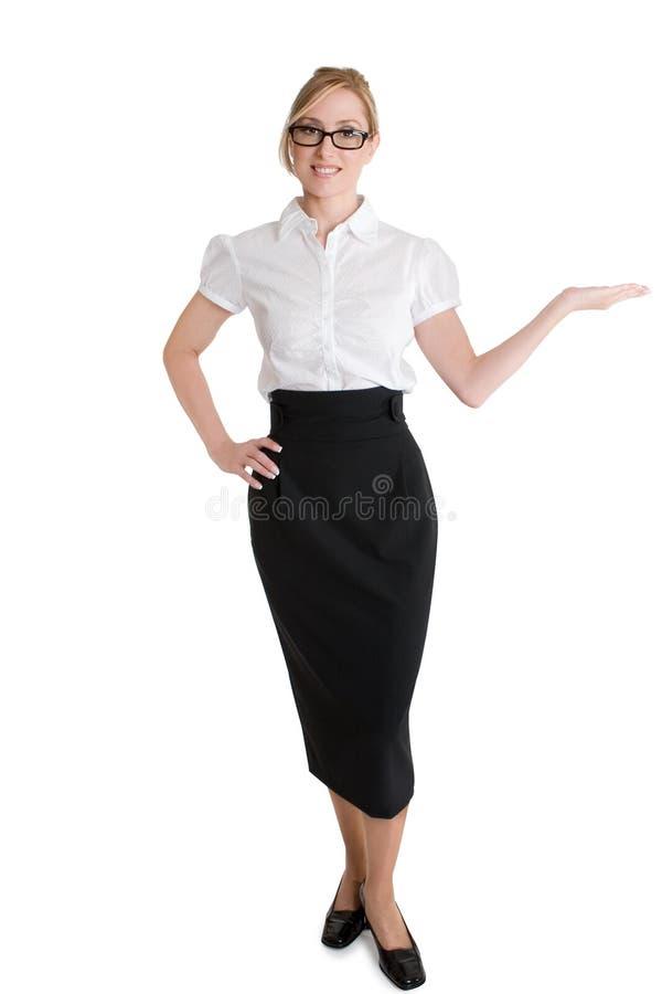 Saleswoman que anuncia o produto foto de stock
