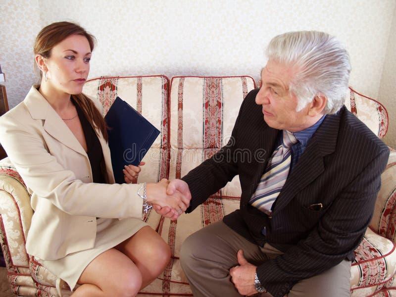 Saleswoman vendido fotografia de stock royalty free