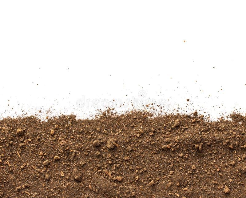 Saleté, pile de sol d'isolement sur le fond blanc photographie stock libre de droits
