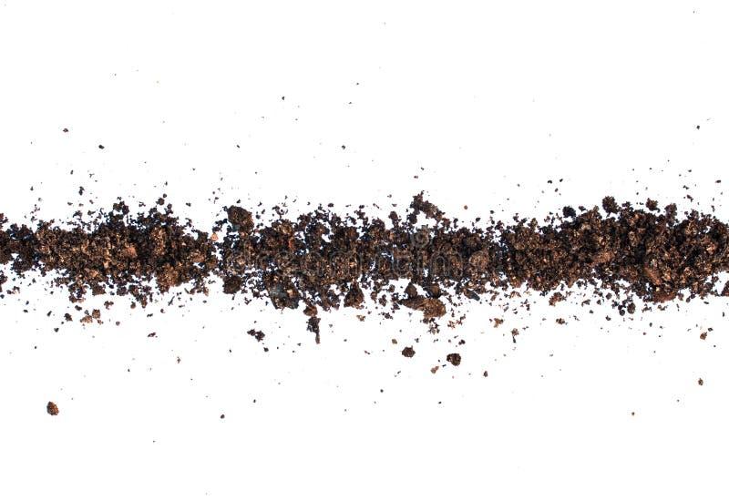 Saleté, pile de sol d'isolement sur le fond blanc image libre de droits