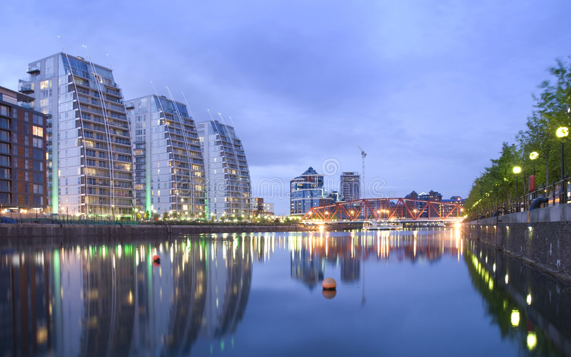 Download Salford Quays at dusk stock image. Image of dock, night - 2529861