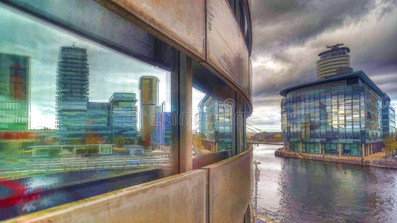 Salford quays/medialny miasto od lowry centre obraz stock
