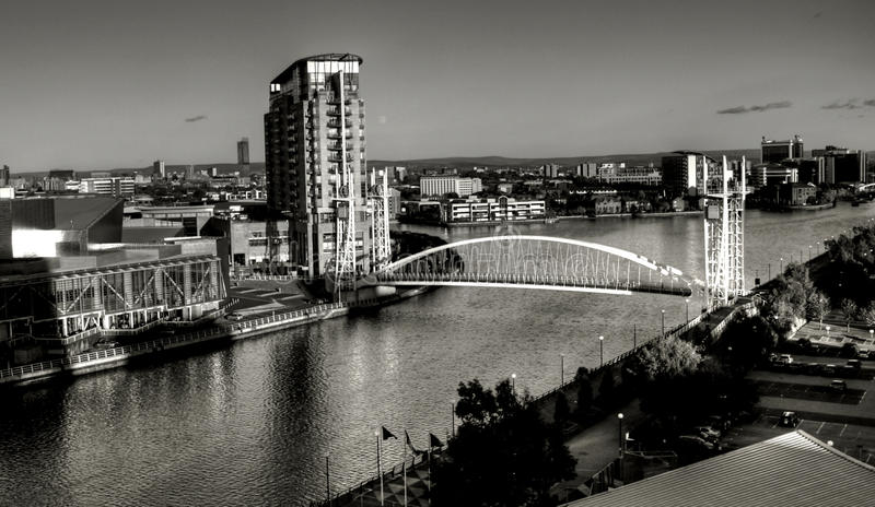 Download Salford Quays Suspension Bridge Stock Image - Image: 63411693