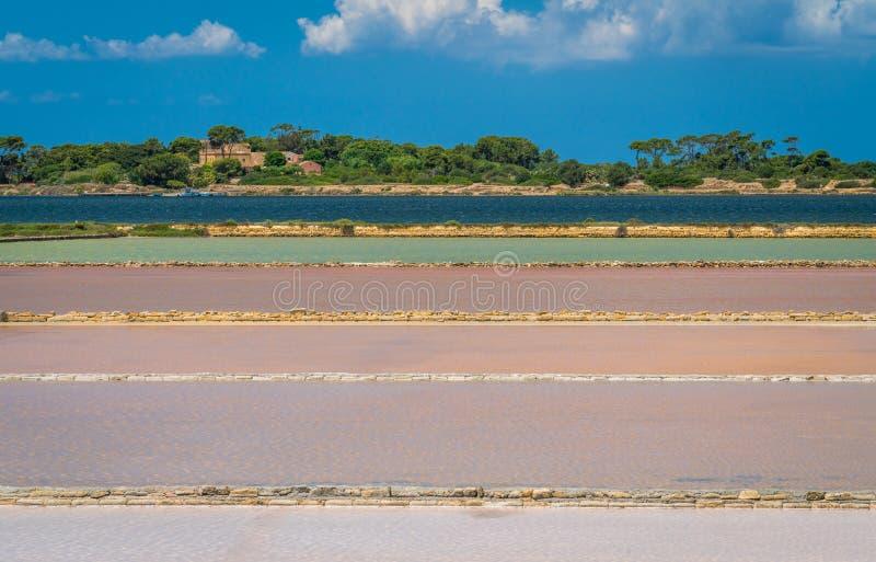 Salgue planos na reserva natural do ` salino de Stagnone do dello do ` perto do Marsala e do Trapani, Sicília imagem de stock royalty free
