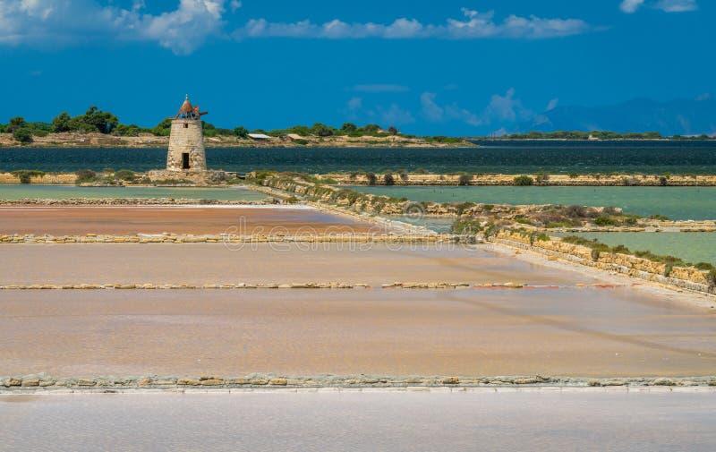 Salgue planos na reserva natural do ` salino de Stagnone do dello do ` perto do Marsala e do Trapani, Sicília imagem de stock