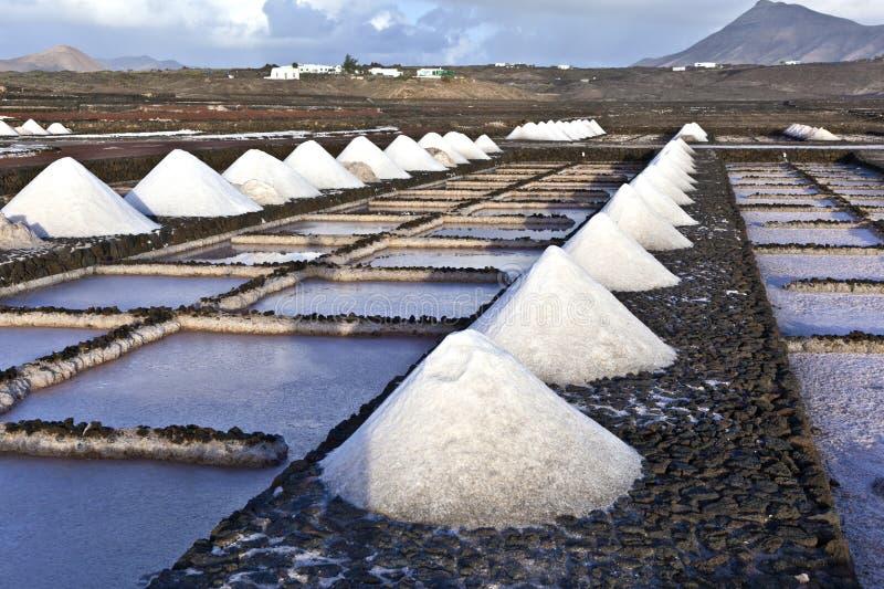 Salgue a refinaria, salina de Janubio, Lanzarote fotos de stock