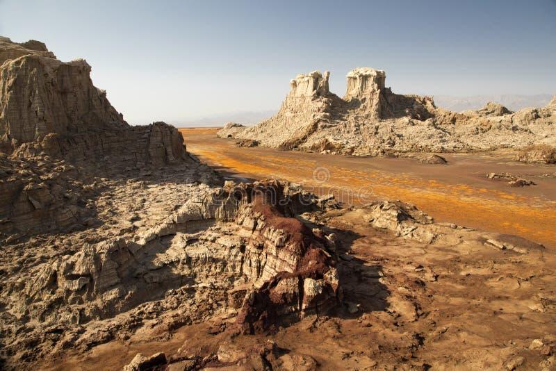 Salgue a rocha e as formações na depressão de Danakil, Etiópia imagem de stock royalty free