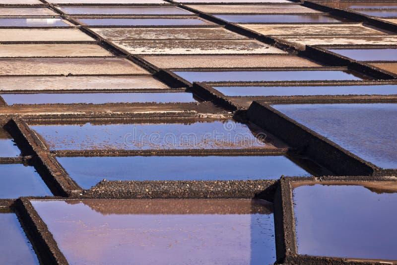 Sali la raffineria, salina da Janubio, Lanzarote fotografia stock libera da diritti