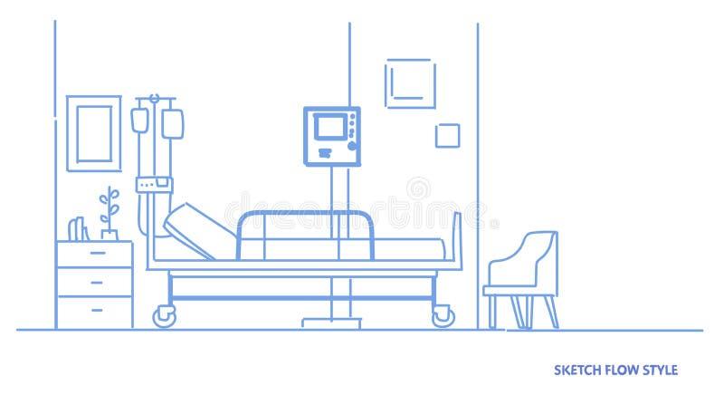 Sali szpitalnej wewnętrznej intensywnej terapii cierpliwy oddział z łóżkiem no opróżnia żadny ludzi doktorskiego biurowego nakreś ilustracji