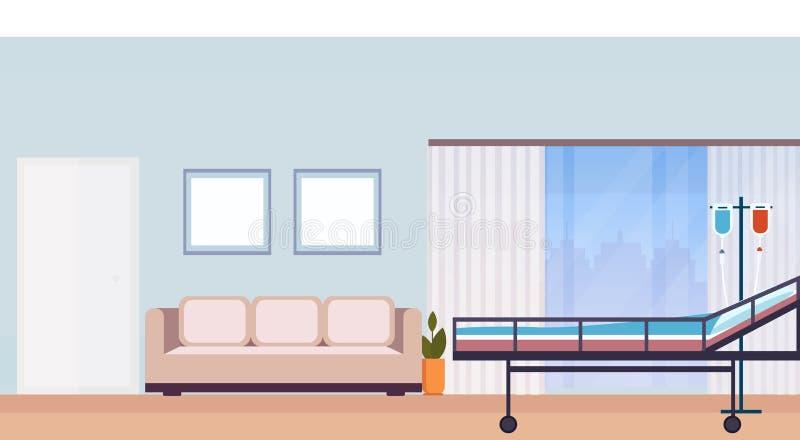 Sali szpitalnej wewnętrznej intensywnej terapii cierpliwy oddział z łóżkiem no opróżnia żadny ludzi nowożytnej medycznej kliniki  ilustracja wektor