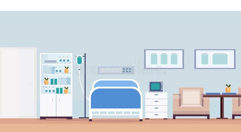 Sali szpitalnej wewnętrznej intensywnej terapii cierpliwy oddział z medycznym narzędzie karmiącej opieki łóżkiem no opróżnia żadn ilustracji