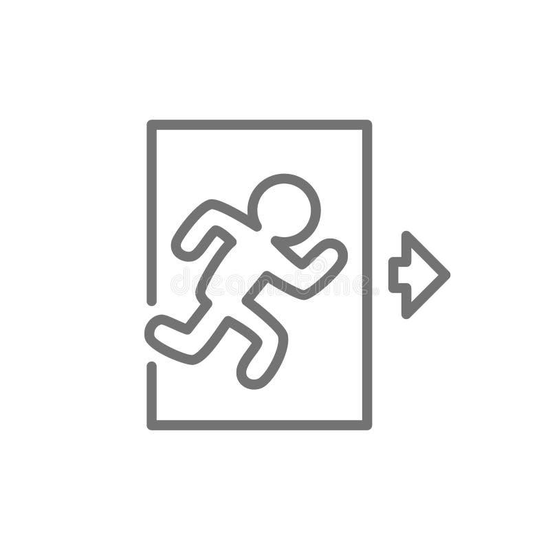 Salida de emergencia, hombre que funciona con hacia fuera la línea icono de la muestra stock de ilustración