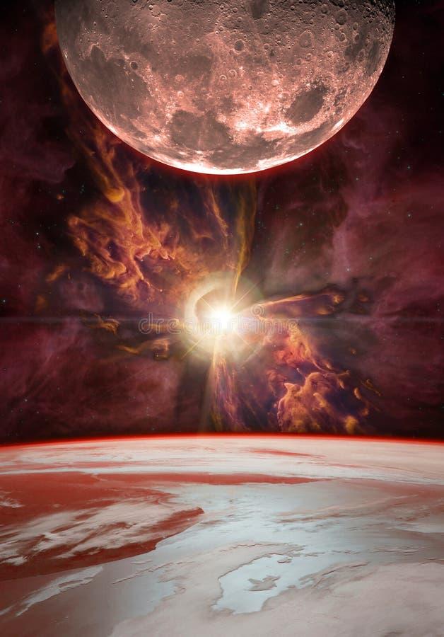 Salida de la luna sobre la tierra del planeta foto de archivo libre de regalías