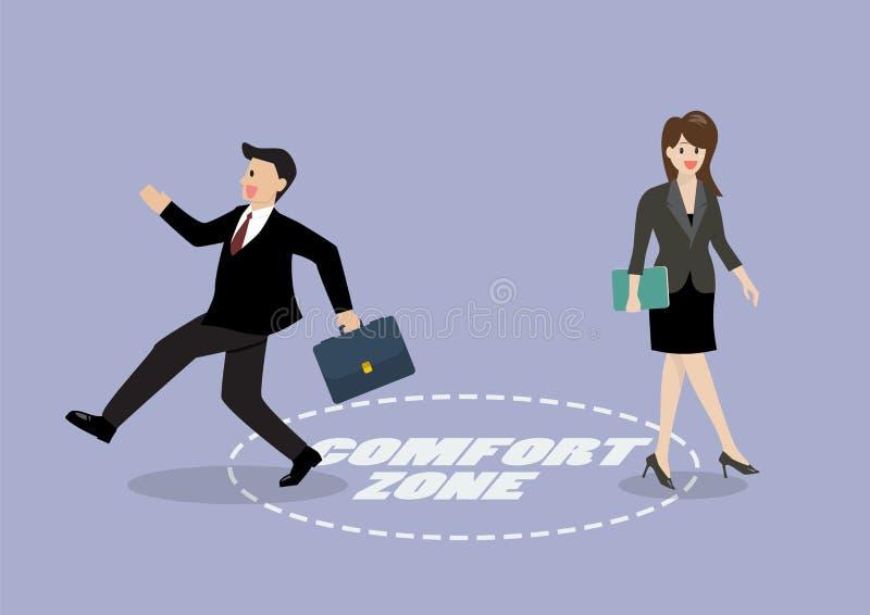 Salida del hombre de negocios y de la mujer de la zona de comodidad stock de ilustración