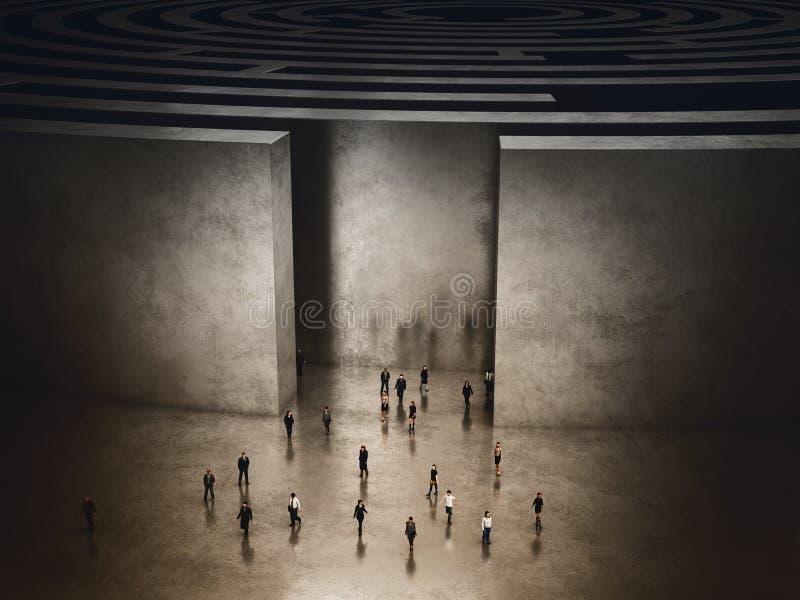 Salida del laberinto complicado representación 3d fotografía de archivo libre de regalías