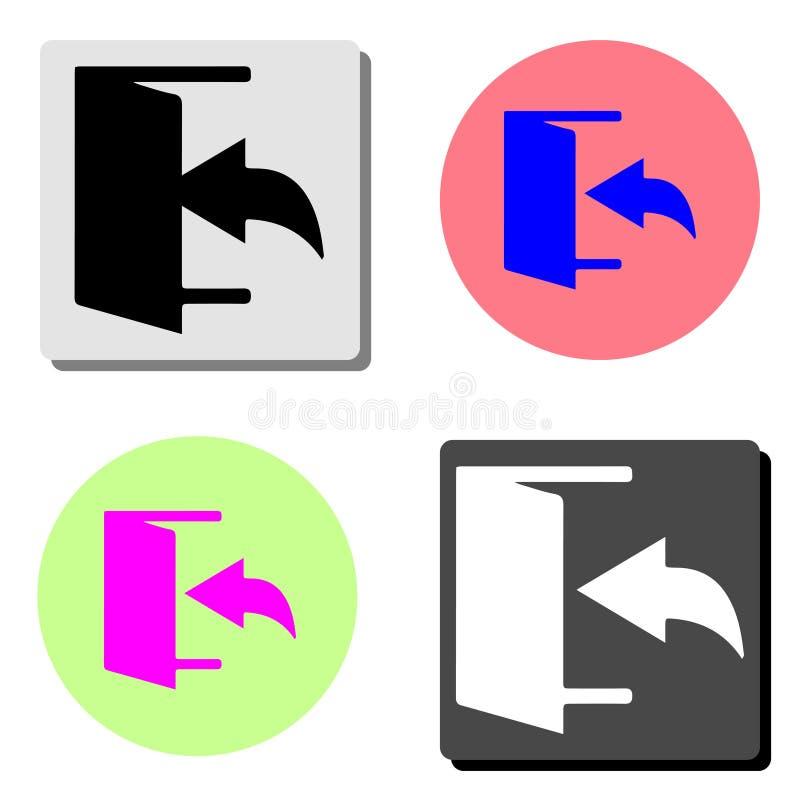 salida Salida del sistema y salida, mercado, hacia fuera Icono plano del vector stock de ilustración
