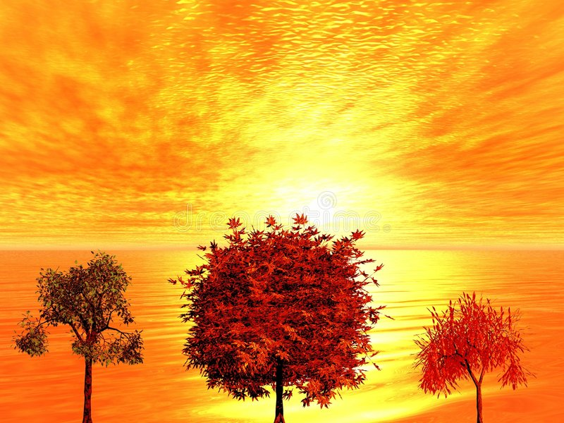 Salida del sol. Árboles del otoño stock de ilustración