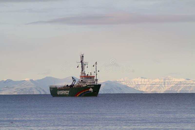 Salida del sol ártica Greenpeace fotografía de archivo