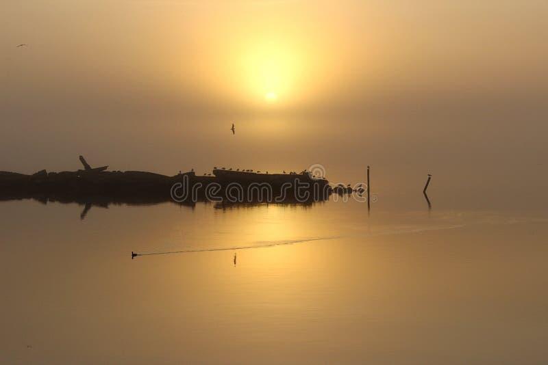 Salida del sol anaranjada imagen de archivo
