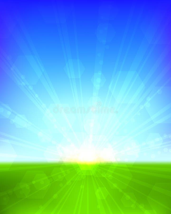 Salida del sol brillante libre illustration