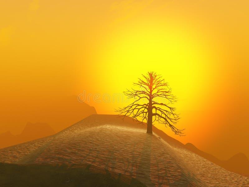 Salida del sol brumosa del árbol solitario stock de ilustración