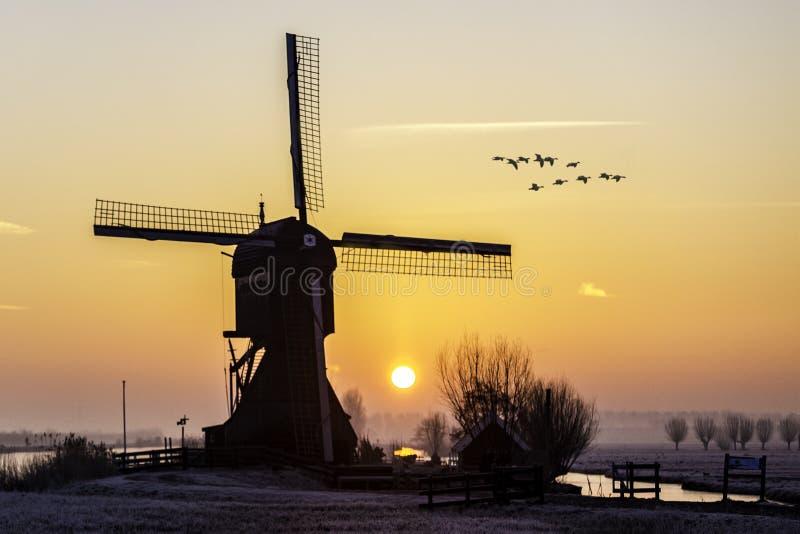 Salida del sol caliente y congelada del molino de viento foto de archivo