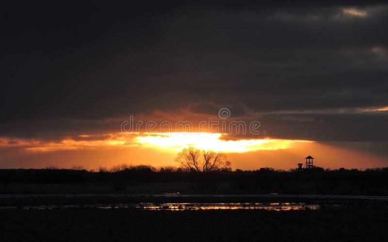 Salida del sol colorida fotos de archivo