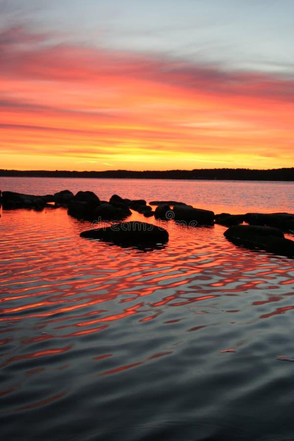 Salida del sol de 1000 islas imagen de archivo