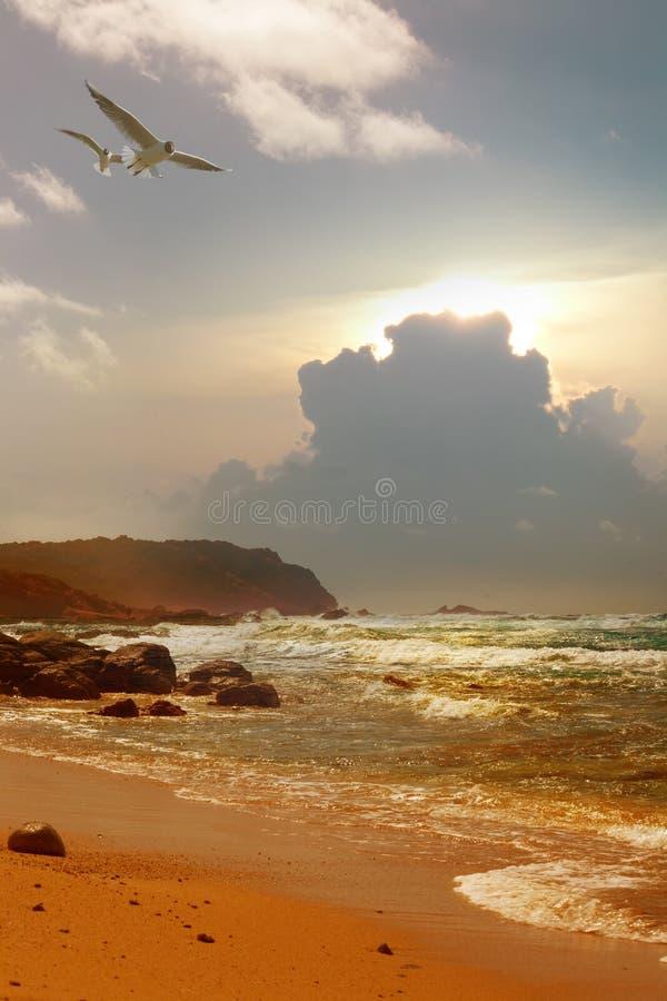 Salida del sol de Art Beautiful Mediterranean fotografía de archivo libre de regalías