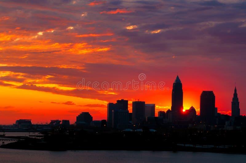 Salida del sol de Cleveland imagen de archivo