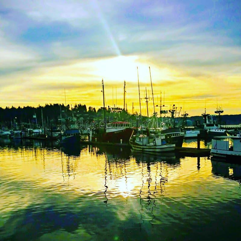 Salida del sol de la bahía de Newport foto de archivo libre de regalías