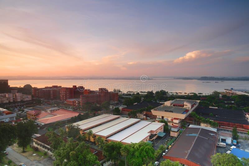 Salida del sol de la frontera de Malasia y de Singapur imagenes de archivo