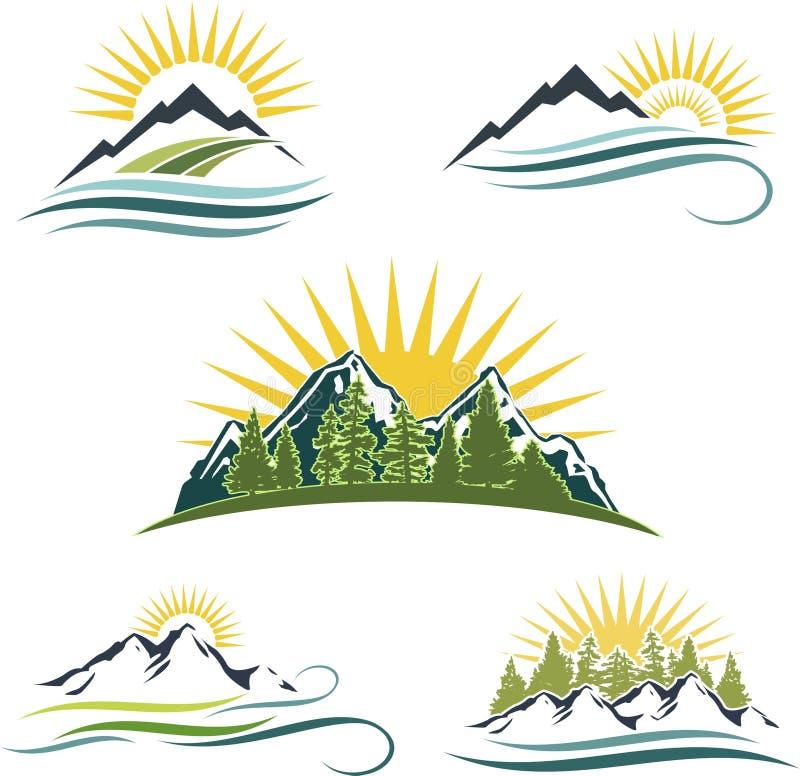 Salida del sol de la montaña, conjunto del icono de la naturaleza stock de ilustración