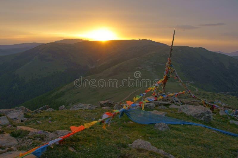 Salida del sol de la montaña de Wutai imagen de archivo