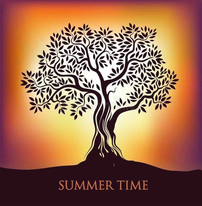 Salida del sol de la puesta del sol del árbol ilustración del vector