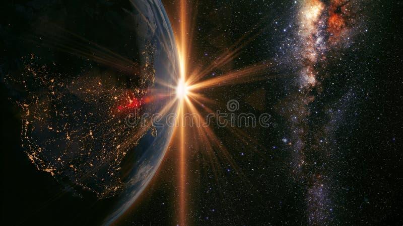 Salida del sol de la tierra imágenes de archivo libres de regalías