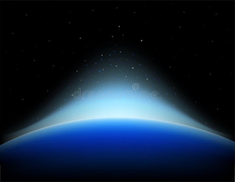 Salida del sol de la tierra en espacio con la estrella shinning stock de ilustración