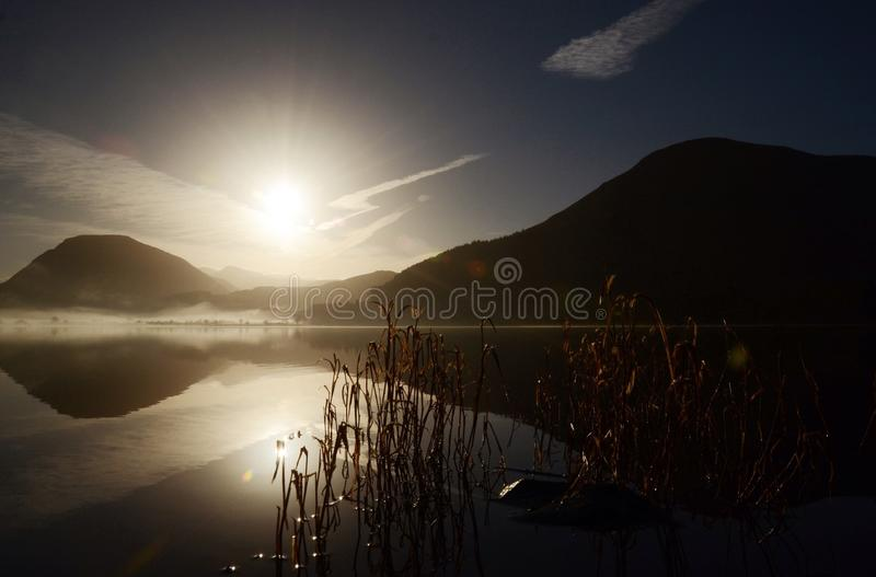 Salida del sol de Loweswater imagen de archivo