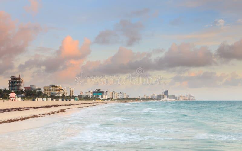 Salida del sol de Miami Beach imagenes de archivo