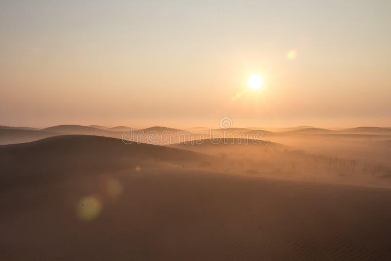 Salida del sol de niebla de la mañana del invierno en el desierto Dubai, UAE fotos de archivo