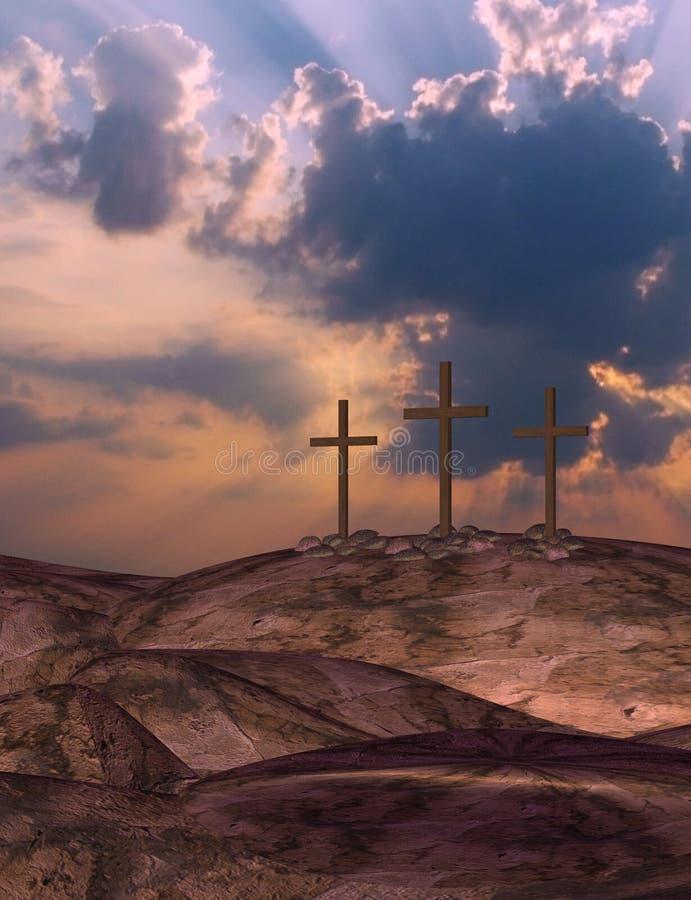 Salida del sol de Pascua tres cruces ilustración del vector