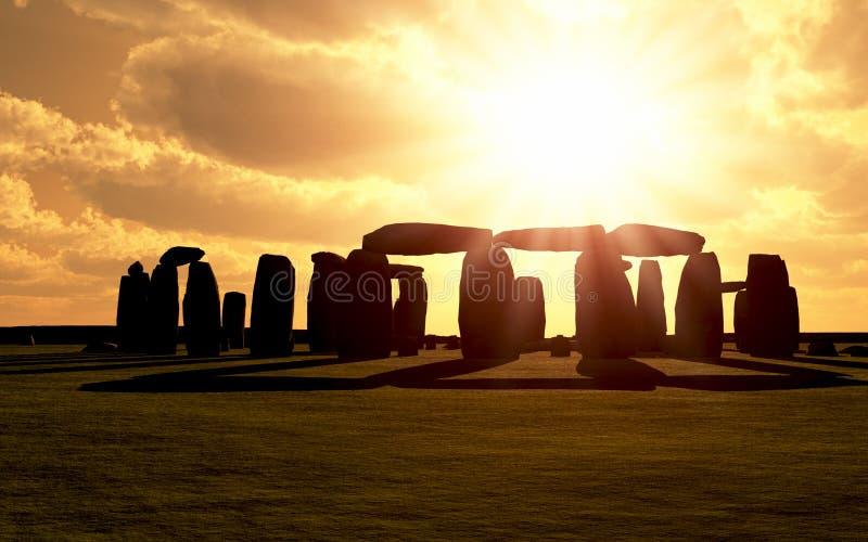 Salida del sol de Stonehenge ilustración del vector