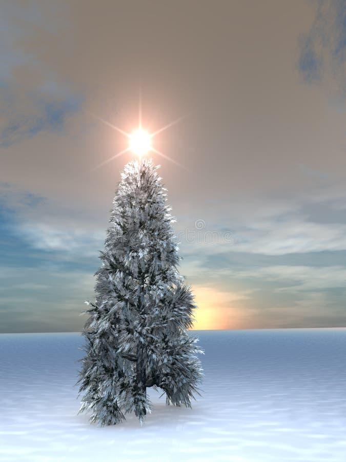 Salida del sol del árbol de navidad ilustración del vector