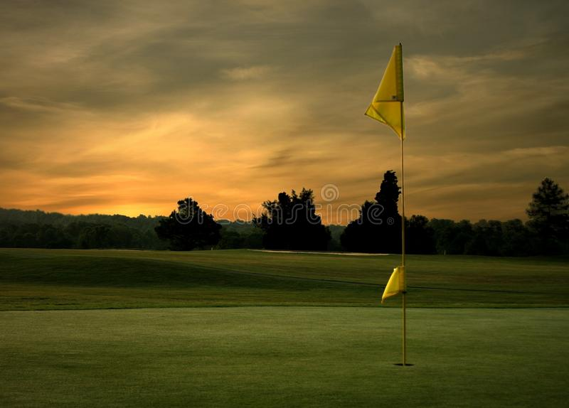 Salida del sol del golf imagen de archivo libre de regalías