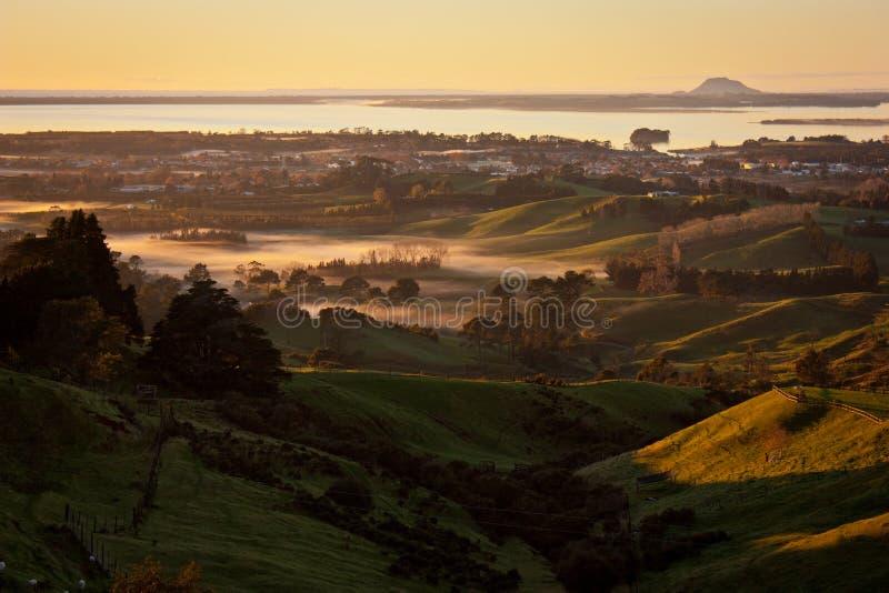 Salida del sol del punto de visión en Katikati, Nueva Zelanda foto de archivo