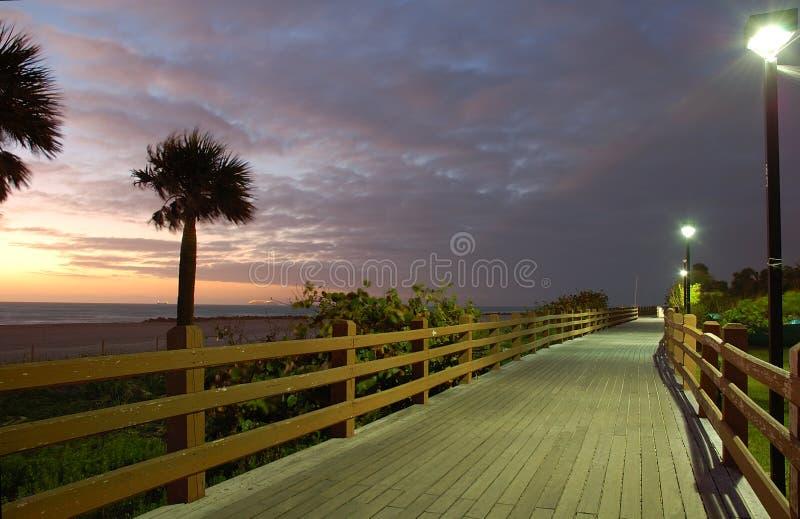 Salida del sol del sur de la playa de Miami imagen de archivo