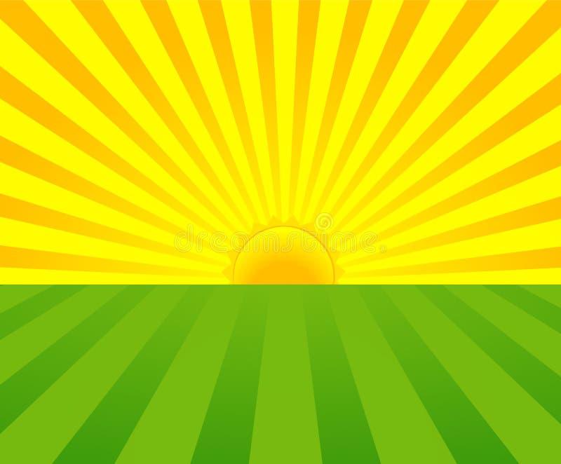 Salida del sol del verano stock de ilustración